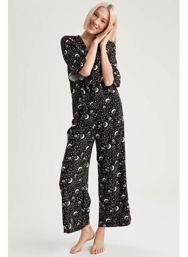 Defacto –Fit Lunar Baskılı Volanlı Gömlek Tasarımlı Pijama Takımı Siyah